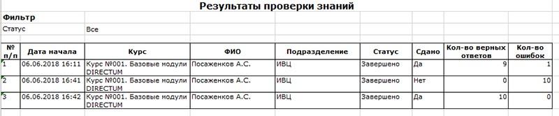 Пример отчета «Результат проверки»